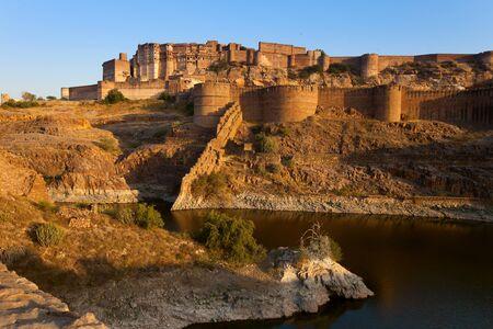 lake in front of mehrangarh fort in Jodhpur, India