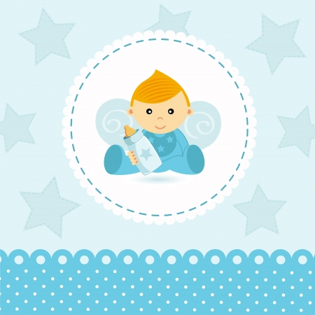 baby angel: little boy baby vector Illustration