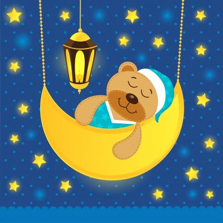 luna caricatura: dormir oso de peluche Vectores