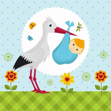 cigogne avec un bébé dans un sac