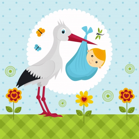stork with a baby boy in a bag Vector