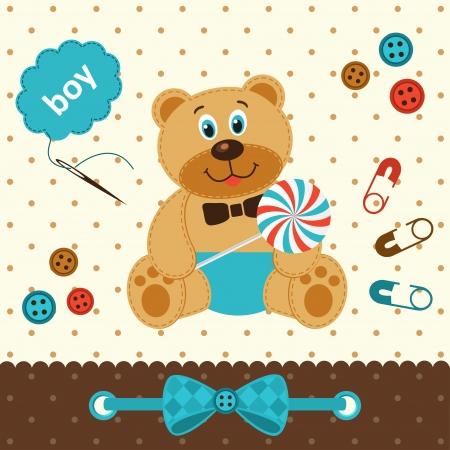 baby bear: teddy bear with candy Illustration
