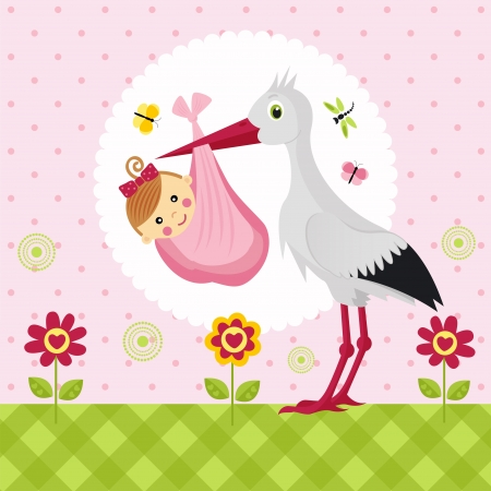 stork: stork with a baby girl in a bag