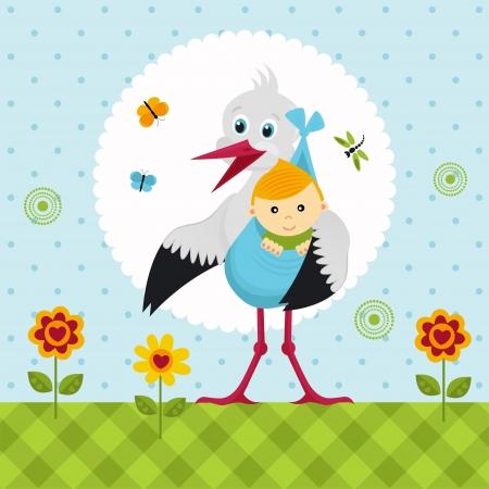 Storch mit einem Baby in einem Sack