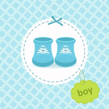 zapatos azules: Ilustraci�n de un par de zapatos de beb� Vectores