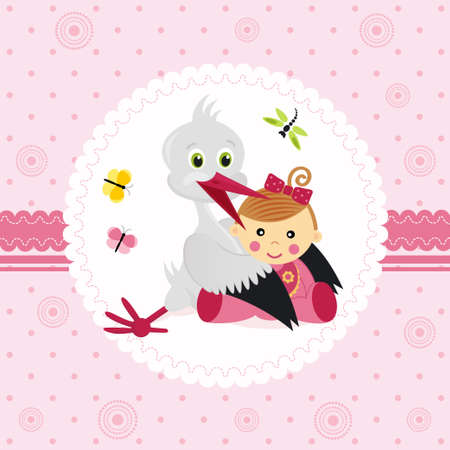 stork and baby girl Stock Vector - 16944335