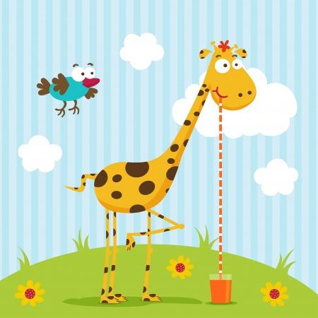 giraffe and bird vector Illustration