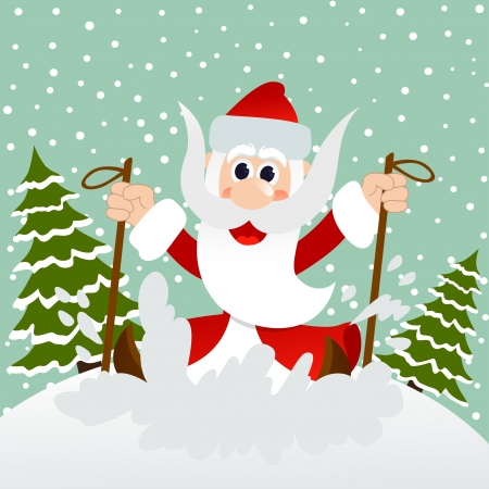 Santa on skis Vector