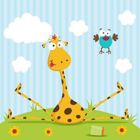 giraffe cartoon: giraffe and bird Illustration