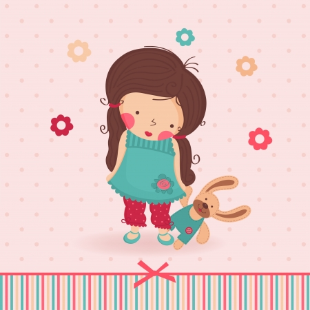 girl with a toy Vector