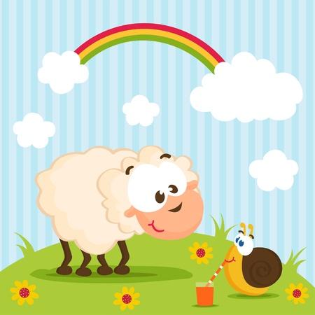 Schafe und Schnecke Illustration