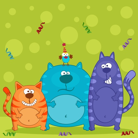 funny cats and bird vector Vector