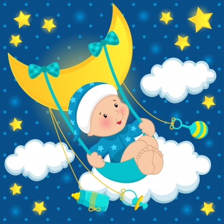 pajamas: baby on the moon vector Illustration
