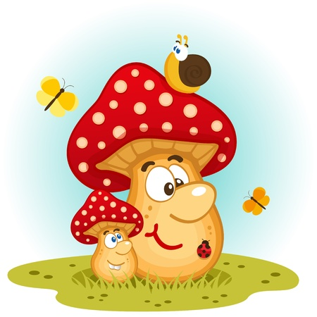 flower ladybug: Mushrooms and insects vector