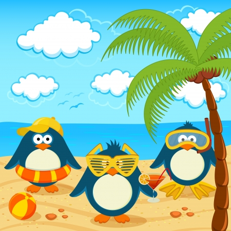 cartoon summer: Penguins on the beach Illustration