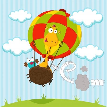 giraffe cartoon: jirafa y un p�jaro en un globo
