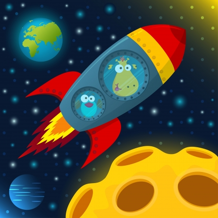 giraffe and bird in space Vector