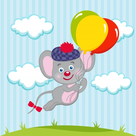 Mouse in balloons