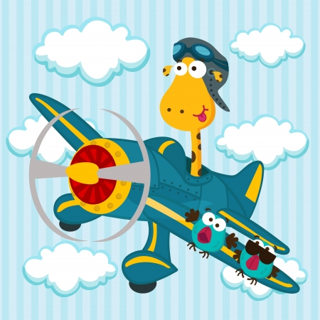 giraffe on a airplane Vector