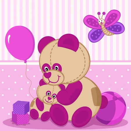 teddy bears mother and baby Vector