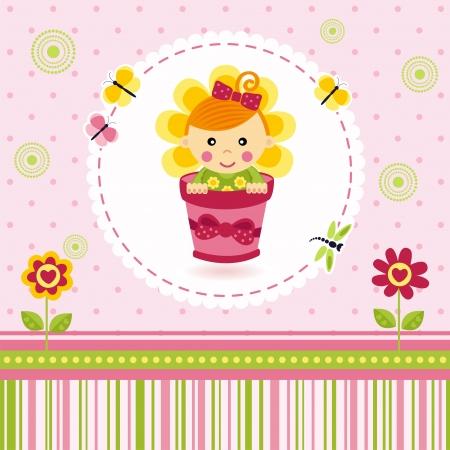 baby girl flower Stock Vector - 18057939
