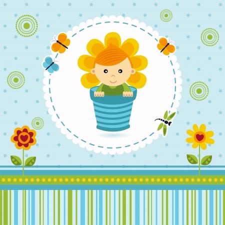 redheaded: baby boy flower Illustration