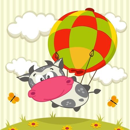Kuh in den Ballon