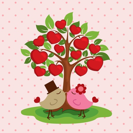wedding with birds Vector