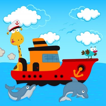 barco caricatura: jirafa y del pájaro en un barco