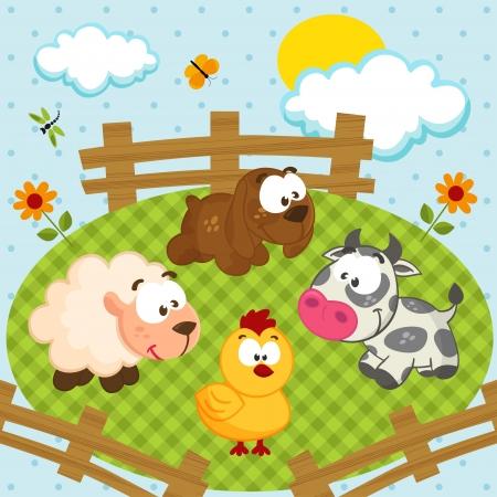 farmyard: yard with pets