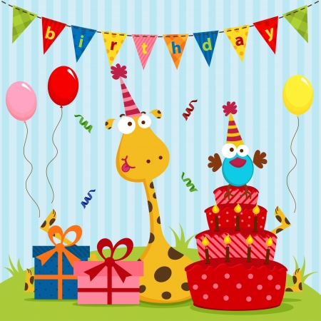 happy birthday baby: jirafa y el cumplea�os de p�jaro Vectores