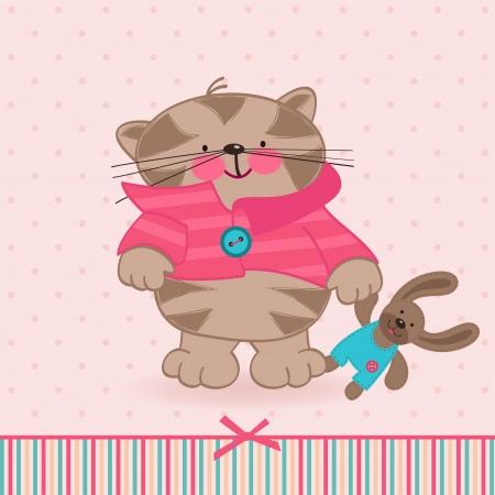 Kätzchen mit einem Spielzeug Illustration