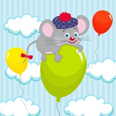 mouse on balloon Illustration