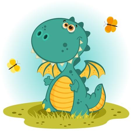 mythological: cute dragon vector