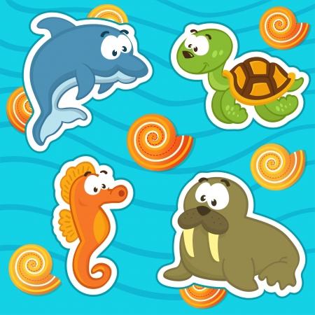 aquatic reptile: marine animals icon set Illustration