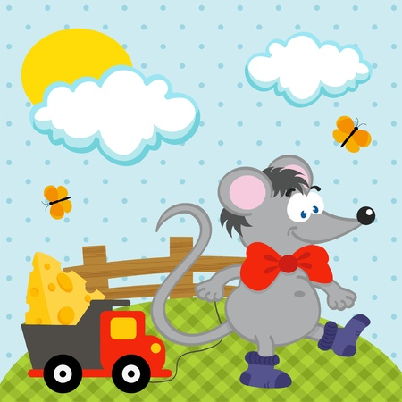 pilferer: mouse with toy Illustration