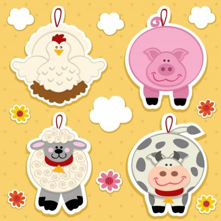icon farm animal vector set Çizim