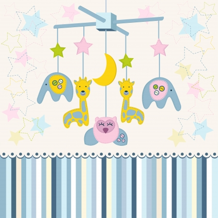 crib: carousel baby for crib vector Illustration