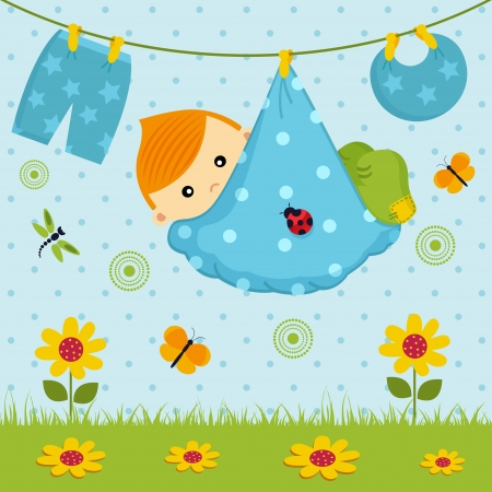 baby boy  in a diaper Stock Vector - 19424333