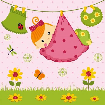 angel birthday: baby girl in a diaper