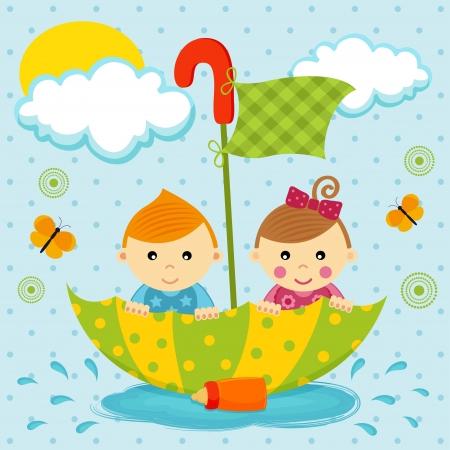 男の子と女の子の傘で水たまりに浮かんでいます。  イラスト・ベクター素材