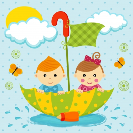 float fun: little boy and girl floating in a puddle by the umbrella