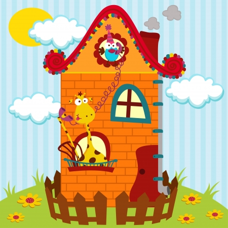 illustration, giraffe and bird talking on the phone in the house