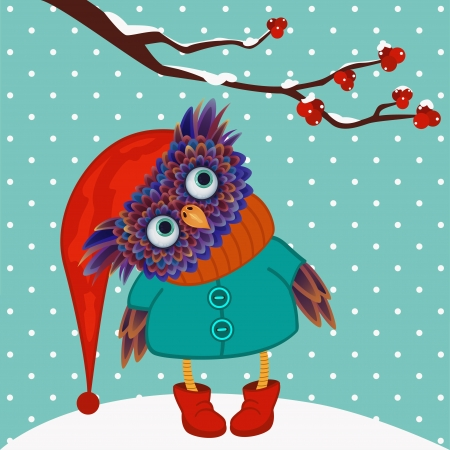 cute owl stand on a snow Vector