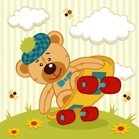 teddy bear on a skateboard Vector