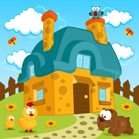 rural home: house and cute pets