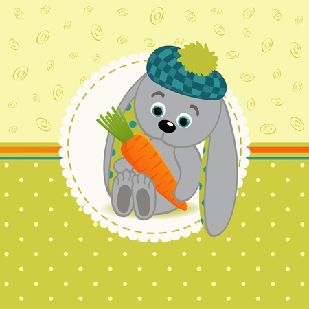 compassionate: vector illustration, little rabbit with carrots