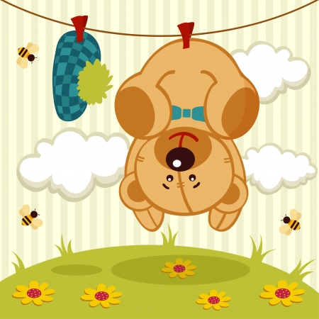vector illustration, cute teddy bear after washing hanging on a rope
