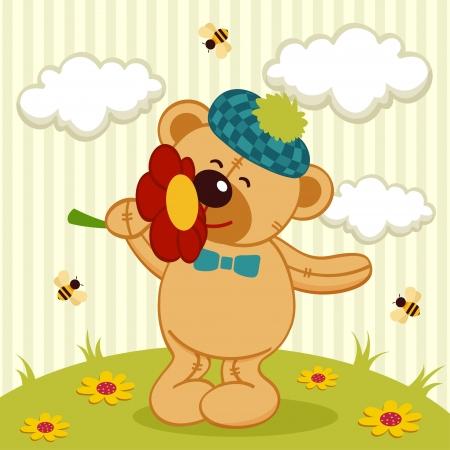 ilustración vectorial, un pequeño oso de peluche con una flor Vectores