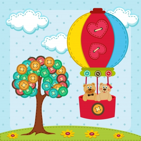 sewing button: vector illustration, bear flies on a balloon   near with tree from  of buttons